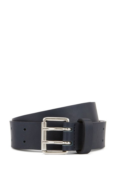 Leather belt with double-prong roller buckle, Dark Blue
