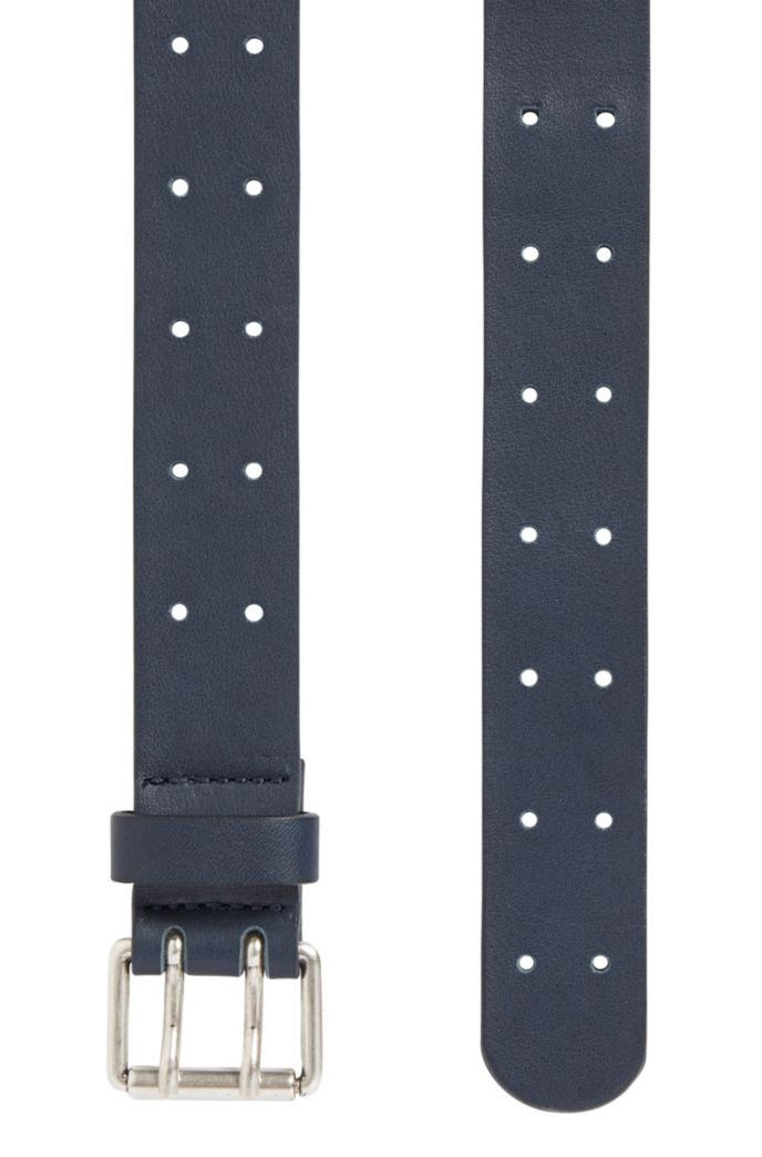 Leather belt with double-prong roller buckle
