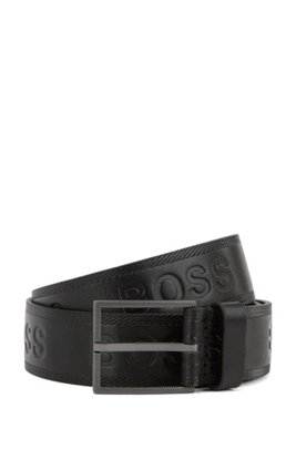 Logo-embossed belt in vegetable-tanned leather, Black