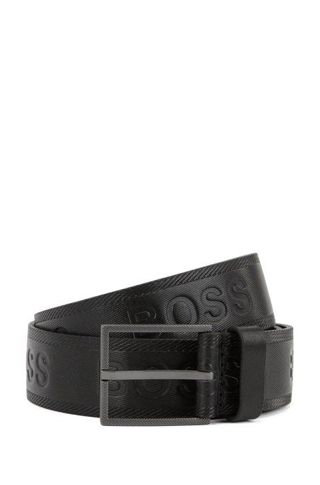 Cintura in pelle conciata al vegetale con logo goffrato, Nero