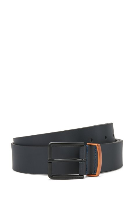 Embossed-leather belt with metallic keeper, Dark Blue