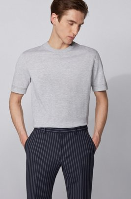 Short-sleeved knitted sweater with micro-structured stripes, ライトグレー