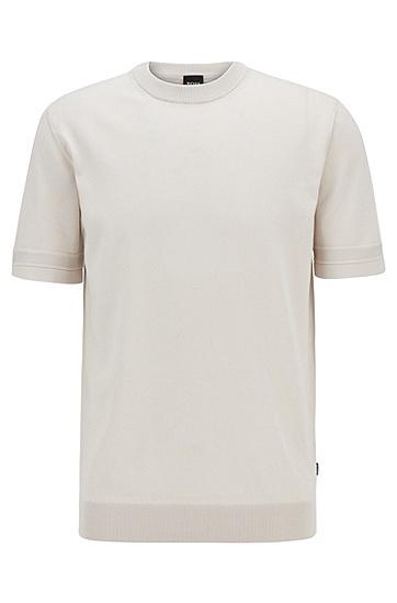 男士微结构条纹针织短袖毛衣,  102_天然色