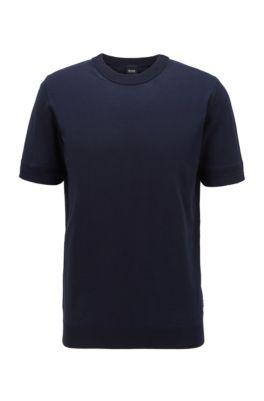 Gebreide trui met korte mouwen en strepen met microstructuur, Donkerblauw