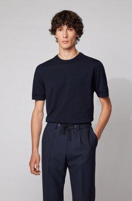 Pull à manches courtes en maille à rayures micro-structurées, Bleu foncé