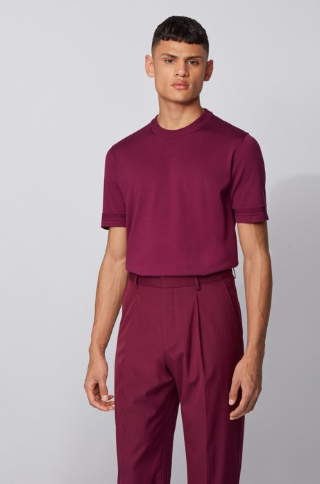 Short-sleeved knitted sweater with micro-structured stripes, Purple