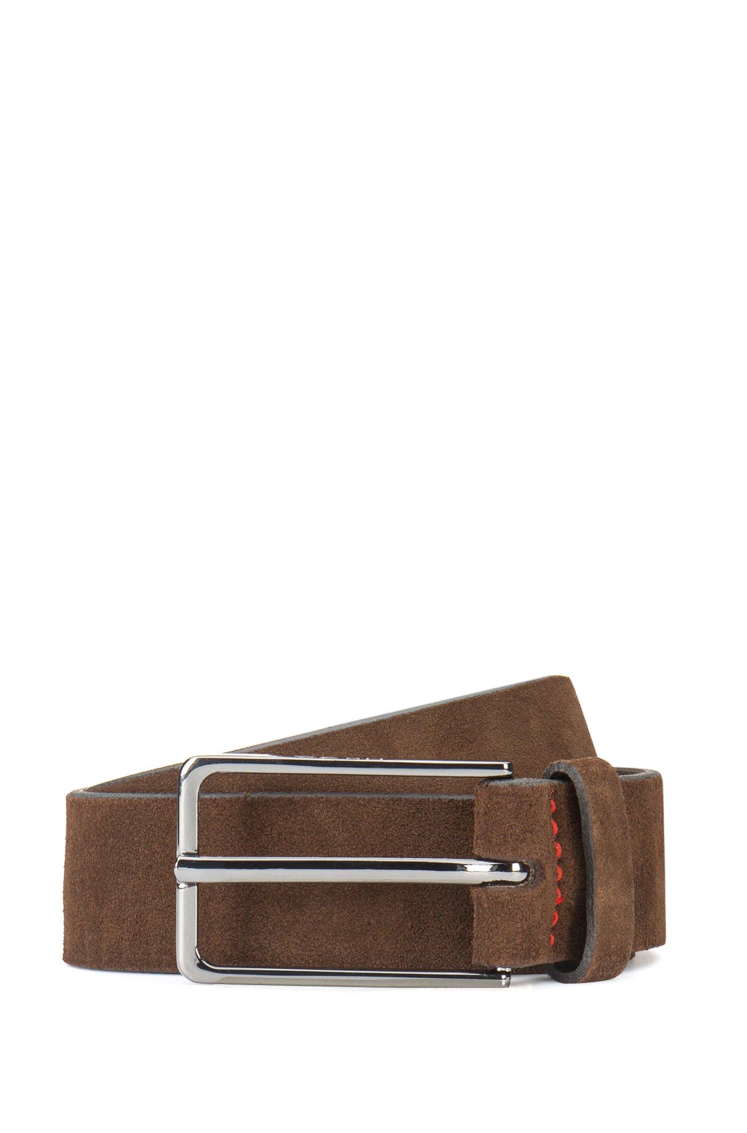 Suede belt with black-varnished hardware, Dark Brown