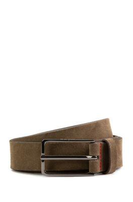 Suede belt with black-varnished hardware, Dark Green