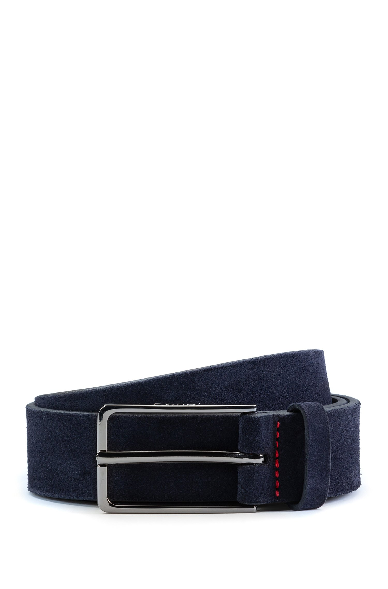Suede belt with black-varnished hardware, Dark Blue