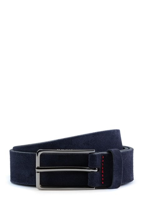 Suede belt with black-varnished hardware, Dark Blue