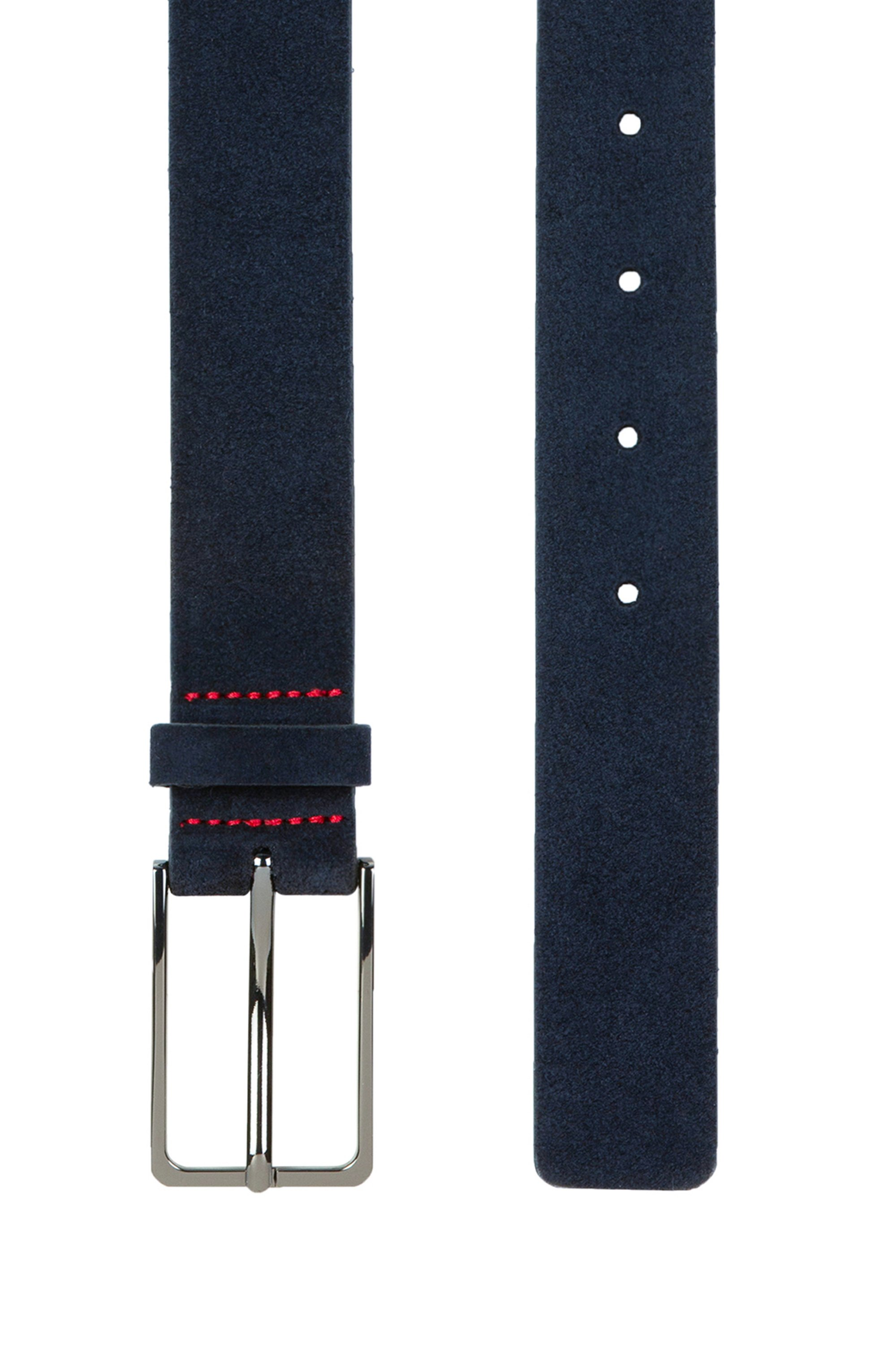 Gürtel aus Veloursleder mit lackierten Metalldetails
