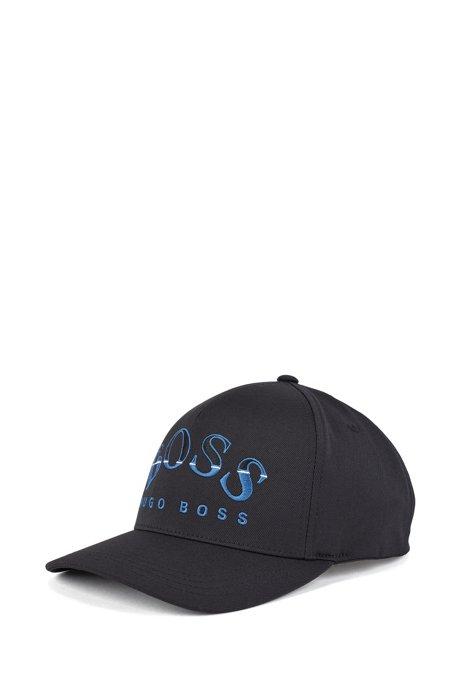 Cap aus Funktionstwill mit geschwungener Logo-Stickerei, Schwarz