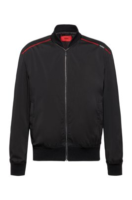 Water-repellent bomber jacket with new-season logo print, Black