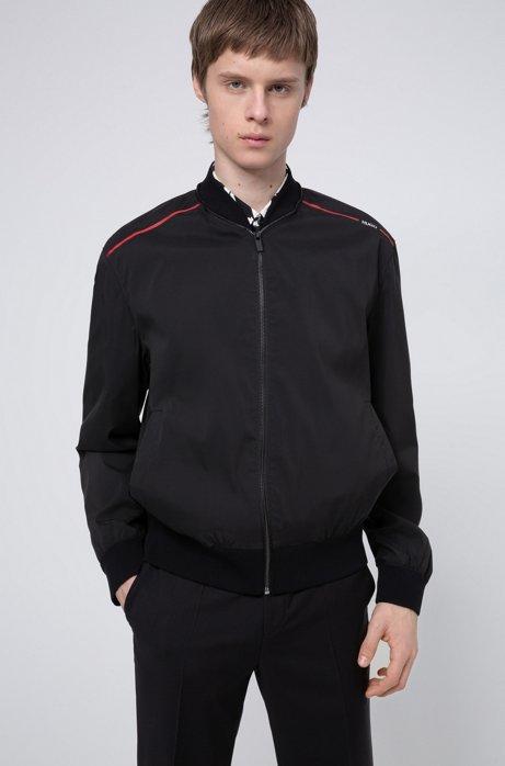 Water-repellent bomber jacket with new-season logo print, Black