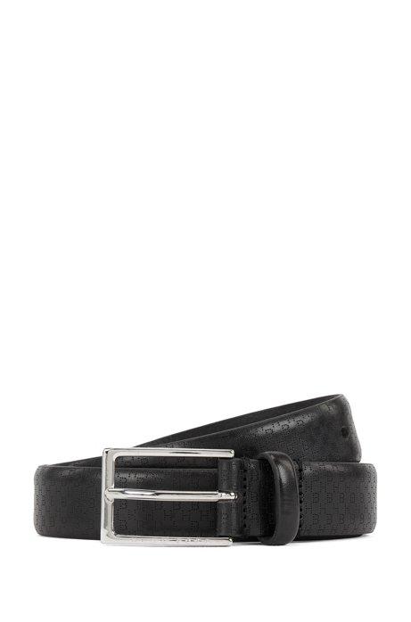 Cinturón de piel elaborado en Italia con las iniciales caladas, Negro