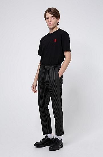 男士系列主题图形印花平纹棉 T 恤,  001_黑色