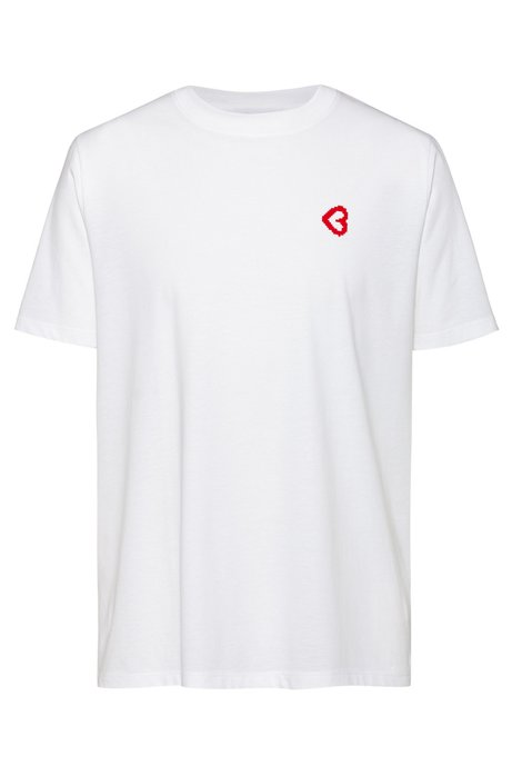 Cotton-jersey T-shirt with collection graphic, Blanc