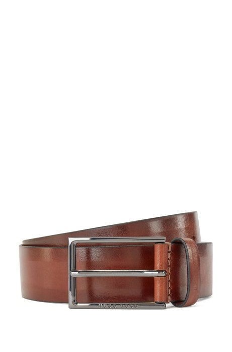 Italian-made belt in vegetable-tanned leather, Brown