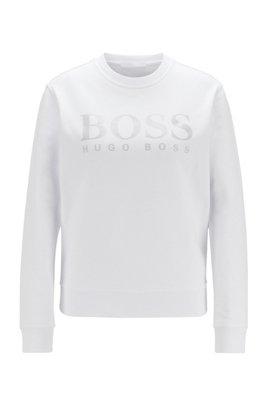Sweatshirt aus Baumwoll-Terry mit schimmerndem Logo-Print, Weiß