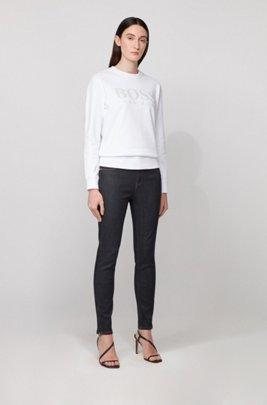 Cotton-terry sweatshirt with gloss-print logo, White
