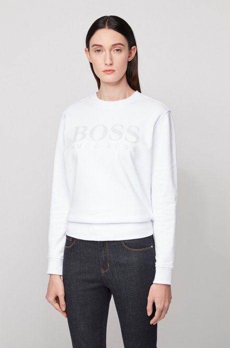 Cotton-terry sweatshirt with gloss-print logo, White