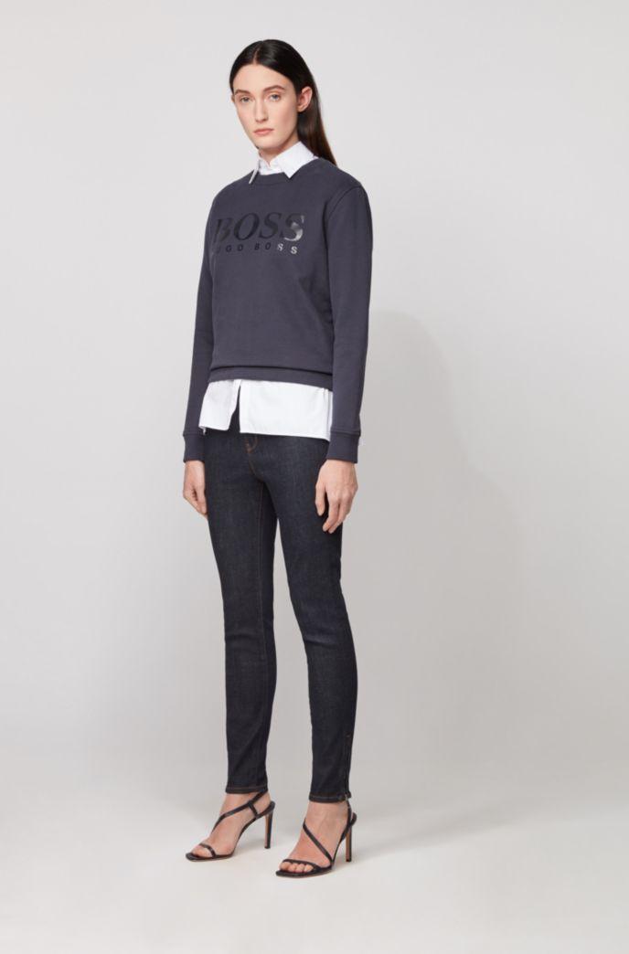 Cotton-terry sweatshirt with gloss-print logo