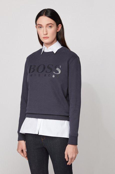 Cotton-terry sweatshirt with gloss-print logo, Light Blue