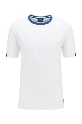 Stretch-cotton T-shirt with contrast details, ホワイト