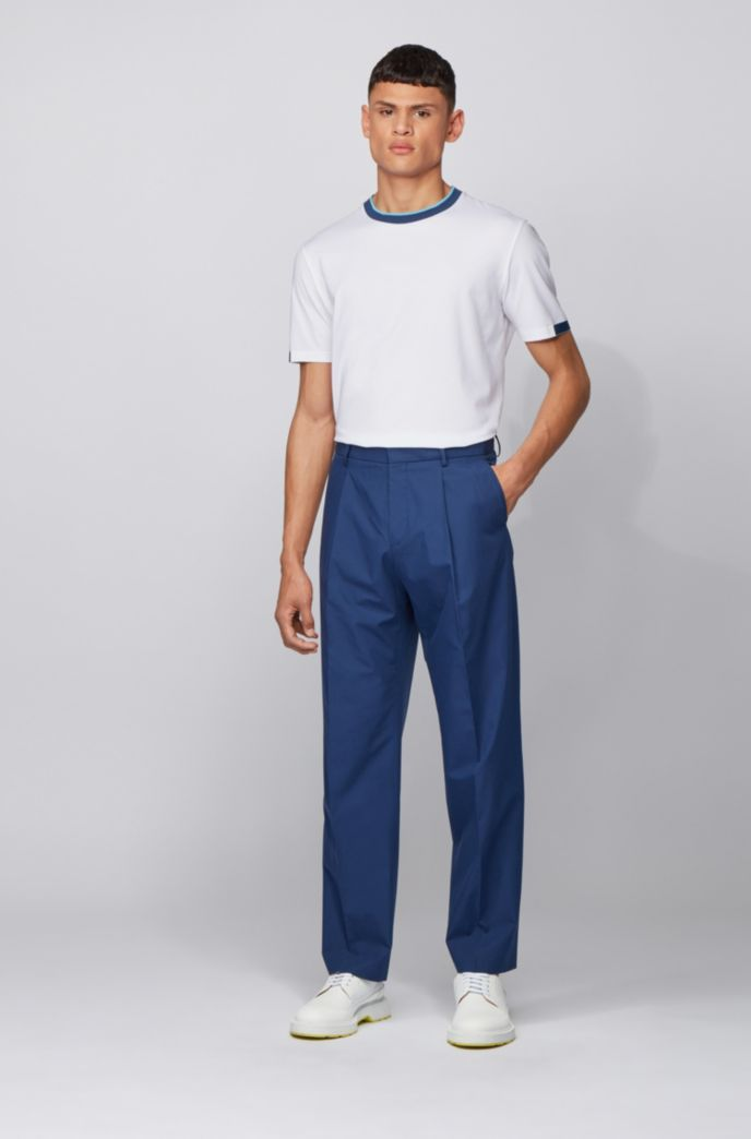 Stretch-cotton T-shirt with contrast details