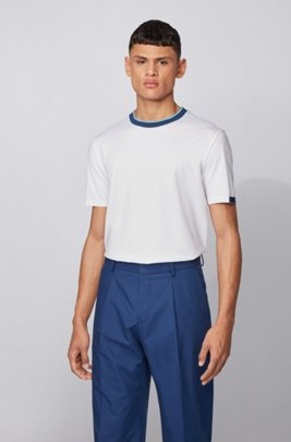 Stretch-cotton T-shirt with contrast details, White