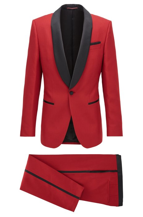 Slim-fit tuxedo with silk trims and pocket square, Red