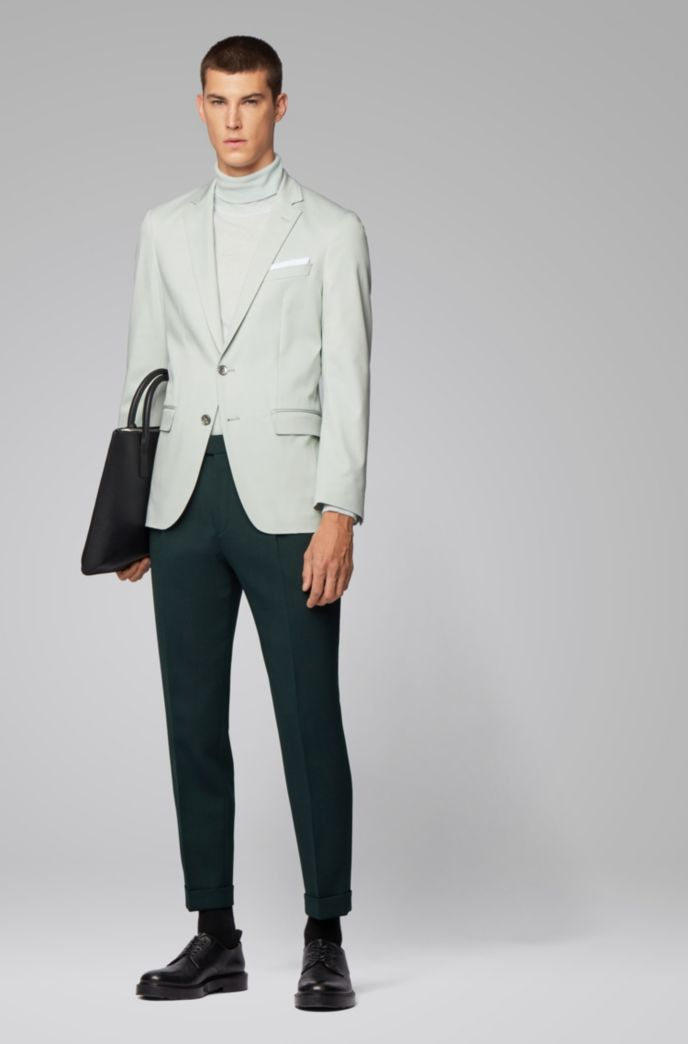 Slim-fit jacket in stretch cotton with pocket square