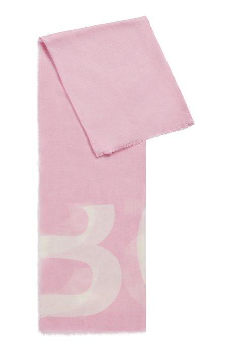 Melange scarf with cropped-logo print, Light Purple