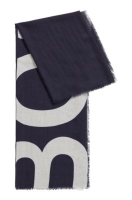 Melange scarf with cropped-logo print, Patterned