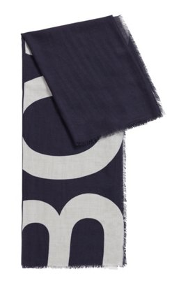 Melange scarf with cropped-logo print, Patterned