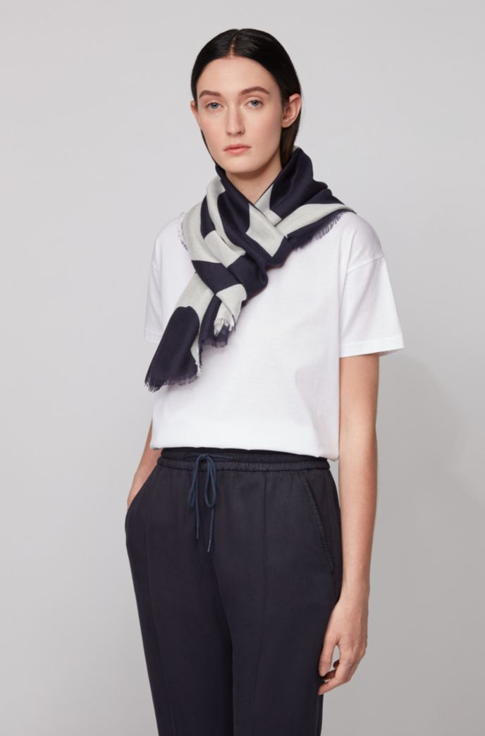 Melange scarf with cropped-logo print