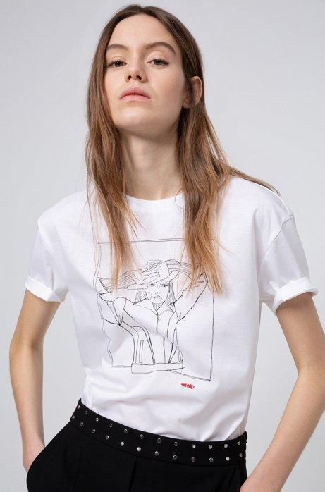 T-shirt in jersey di cotone per la Giornata internazionale della donna, Bianco