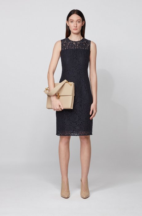 Sleeveless dress in cotton-blend floral lace, Light Blue