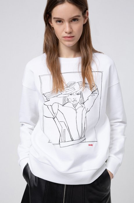 Sweat Relaxed Fit en molleton à motif artistique dessiné à la main, Blanc