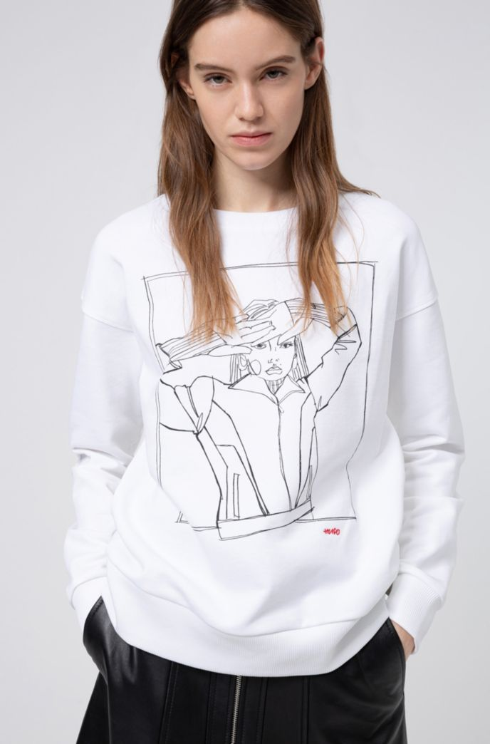 Relaxed-Fit Sweatshirt zum Internationalen Frauentag aus French Terry mit handgezeichnetem Artwork