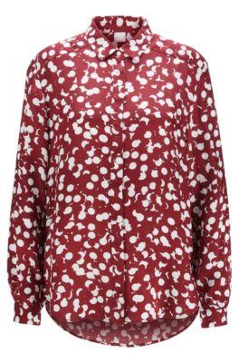 Regular-Fit Canvas-Bluse mit verdeckter Knopfleiste und Punkte-Print, Gemustert