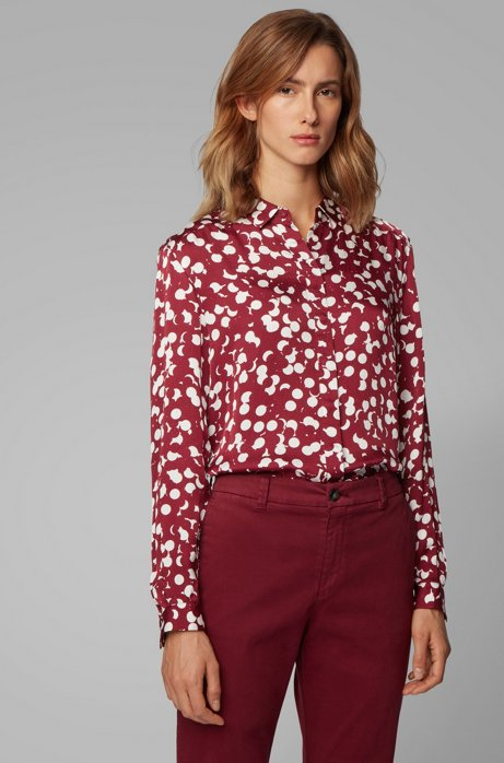 Dot-print blouse with concealed placket, Patterned