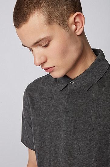 男士纯棉结构化条纹 Polo 衫,  030_中灰色