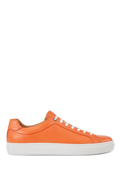 Italian-made tennis-style trainers in Olivenleder®, Orange