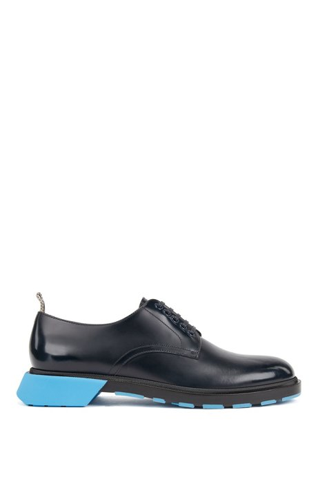 Derby shoes in leather with chunky pop-colour sole, Dark Blue