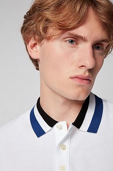 撞色衣领棉质 Polo 衫,  100_白色