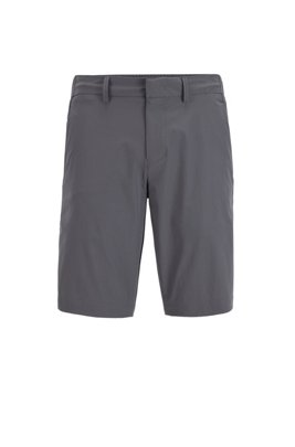 Slim-fit shorts with tonal fabric blocking, ダークグレー