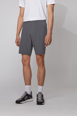 Slim-fit shorts with tonal fabric blocking, Dark Grey