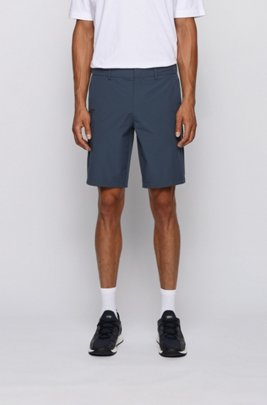 Slim-fit shorts with tonal fabric blocking, Dark Blue