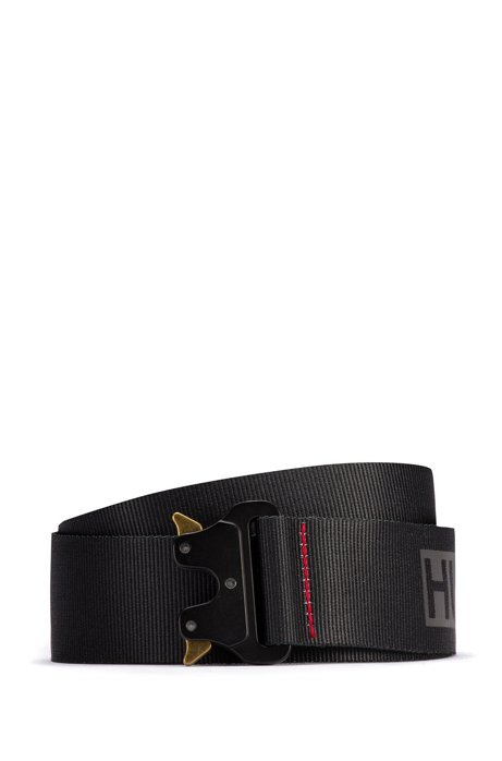 Webbing belt with logo print and clip buckle, Black